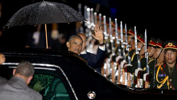 Barack Obama arrives at Wattay International Airport in Vientiane (AP)