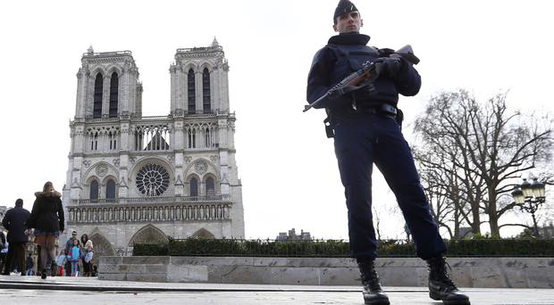 The car was found parked near Notre Dame Cathedral in Paris, police said (AP)