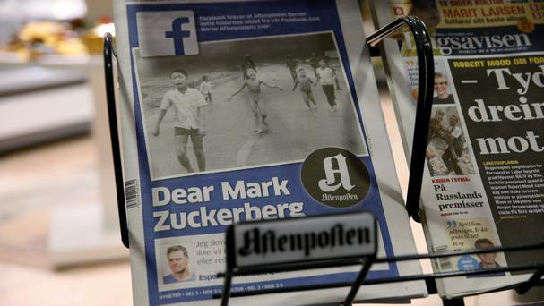 The cover of Norway's Aftenposten as editor-in-chief Espen Egil Hansen wrote an open letter to Facebook founder Mark Zuckerberg (Cornelius Poppe, NTB scanpix/AP)