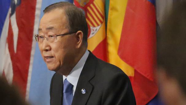 Ban Ki-moon speaks at a press briefing condemning North Korea's fifth nuclear test (AP)