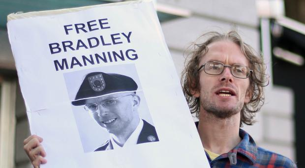 Protests resulted when Bradley Manning was sentenced to 35 years in prison for sending classified information to WikiLeaks