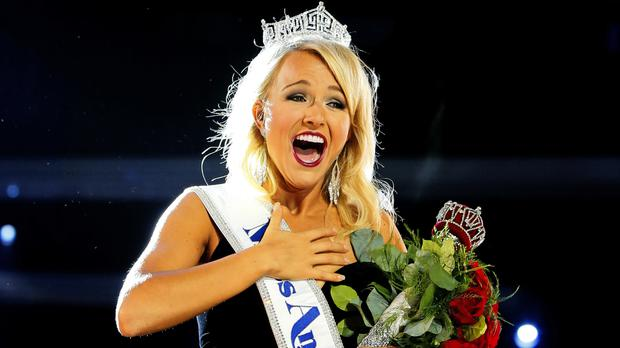 Miss Arkansas, Savvy Shields, celebrates being named the new Miss America (AP)