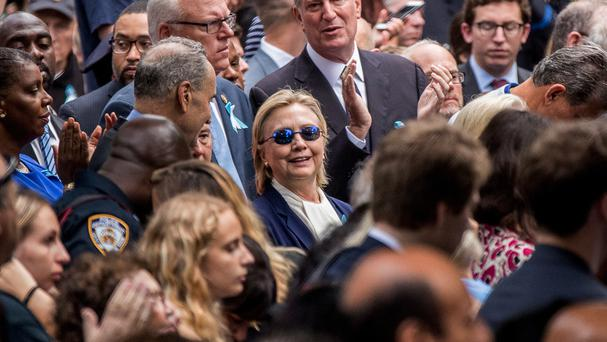 Hillary Clinton attending the ceremony at the September 11 memorial in New York (AP)