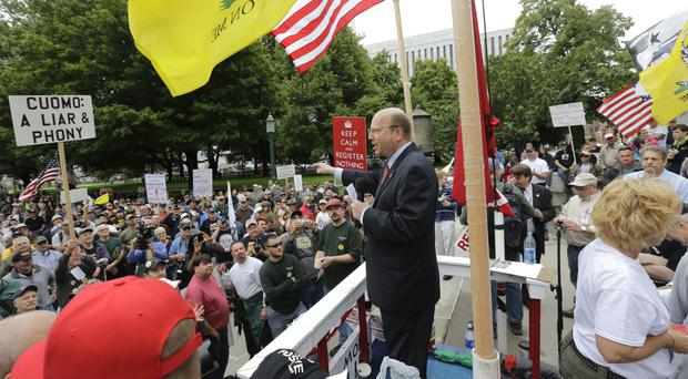 Bill Nojay speaks during a gun-rights rally in 2013 in Albany, New York state (AP)