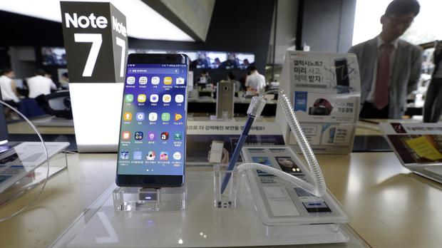 Samsung's Galaxy Note 7 cannot be used on a Slovenian airline's flights (AP)