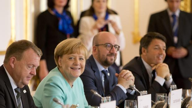 German chancellor Angela Merkel with other EU leaders during an EU summit at Bratislava Castle (AP)