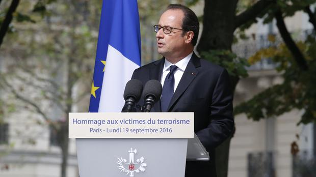 French president Francois Hollande delivers his speech during a ceremony for victims of terrorism in Paris (AP)