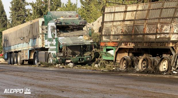 An image shows damaged aid lorries in Aleppo (Aleppo 24 news/AP)