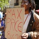 Students chant and sing at the University of Cape town in a protest for free education (AP)