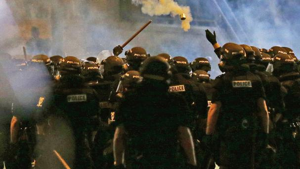 Police fire tear gas at protesters in Charlotte (AP)