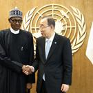 Nigerian President Muhammadu Buhari meets United Nations general secretary Ban Ki-moon at UN headquarters (AP)