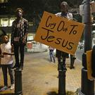 Demonstrators make their point on the streets of Charlotte (AP)