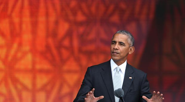 Barack Obama at the museum's opening ceremony