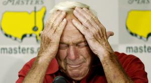 Arnold Palmer pictured in 2004 after playing his final round of Masters competition at Augusta National Golf Club (AP)