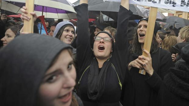 Thousands of people took to the streets across Poland earlier this week to call for the proposal to be rejected (AP)