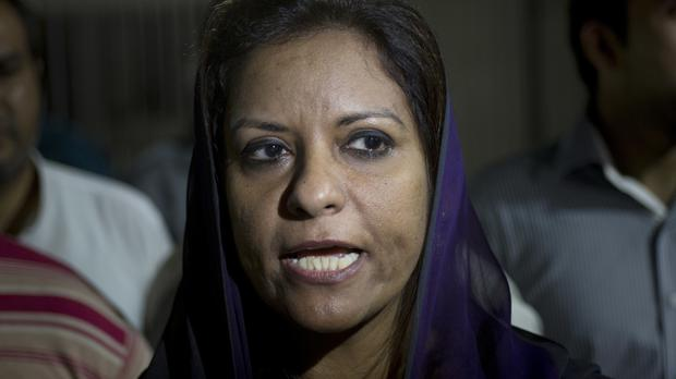 Pakistani opposition MP Nafeesa Shah speaks to the media after the Bill became law (AP)