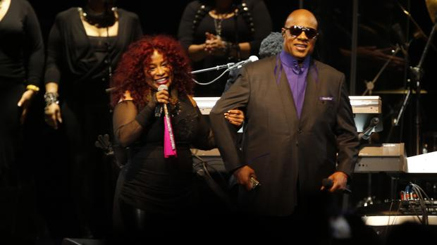 Chaka Khan and Stevie Wonder perform during the tribute concert in St Paul (AP)