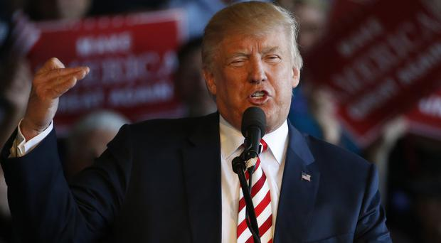 Donald Trump in full flow at a campaign rally in Grand Junction, Colorado (AP)