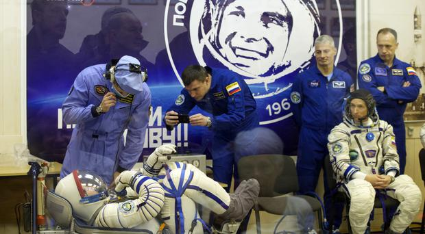 Space suit tests before the launch of the Soyuz mission from Kazakhstan (AP)