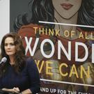 Lynda Carter addresses the UN (AP)