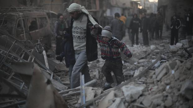 Carnage after an air strike in Eastern Ghouta, Syria (Save the Children/PA)