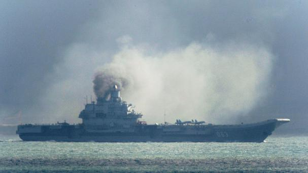 The Russian aircraft carrier Admiral Kuznetsov on its way to reinforce the attack on the besieged Syrian city of Aleppo