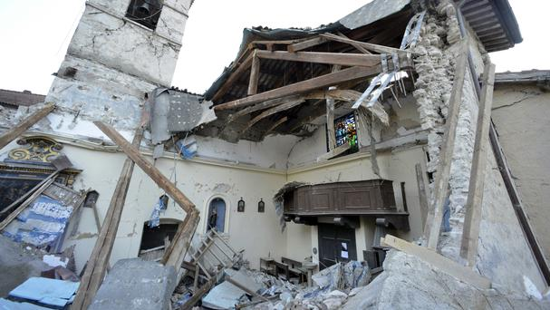 A view of a damaged church after a week of quakes in central Italy left thousands homeless (AP)