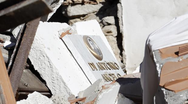 The destroyed graveyard of Campi, central Italy, as the area continues to be rattled by minor earthquakes (AP)