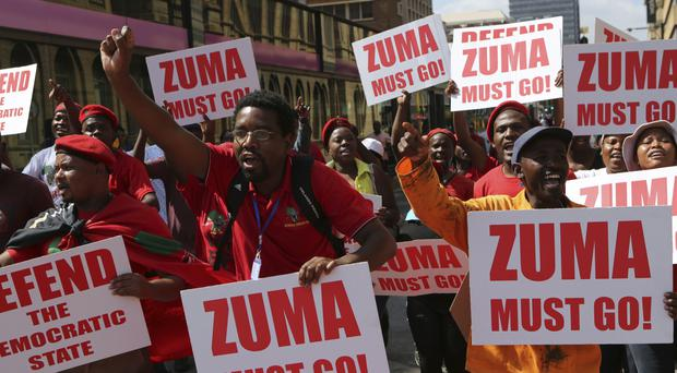 Economic Freedom Fighters supporters march in Pretoria, South Africa (AP)