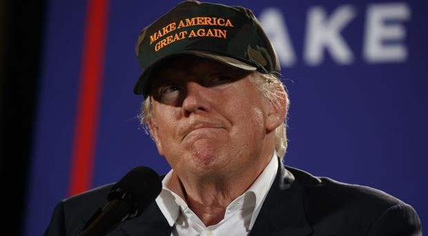 Staying on message - Donald Trump at a campaign rally in Pensacola, Florida (AP)
