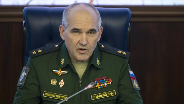 Lt Gen Sergei Rudskoi of the Russian military's General Staff speaks at a briefing about Aleppo (AP)