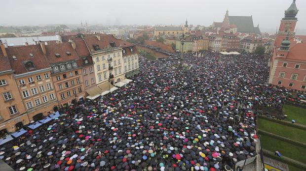 Thousands protest in Warsaw against a legislative proposal for a total ban on abortion (AP)
