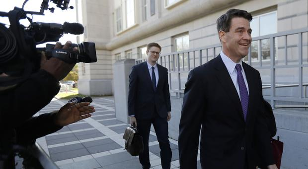 Bill Baroni, right, arrives at Martin Luther King Jr Federal Court (AP)