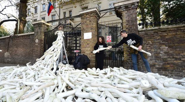 The action came as a response to a protest outside the Russian embassy in London