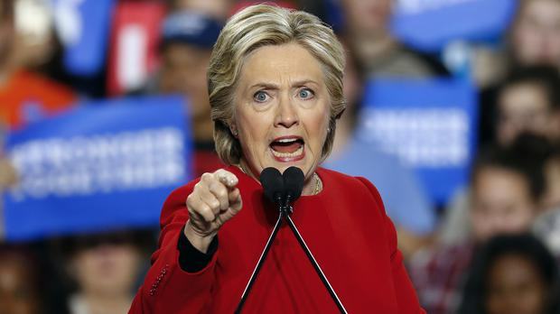 Democratic presidential candidate Hillary Clinton speaks at a campaign rally in Michigan (AP)