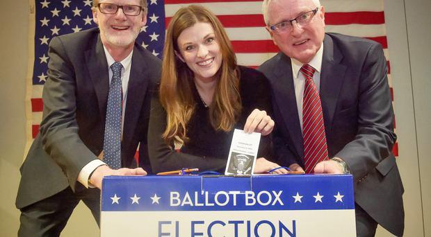 Student Catherine Glen from South Carolina with Dan Lawton, US Consul General and Prof Alastair Adair, Deputy Vice Chancellor at an election night event at Ulster University's Belfast campus