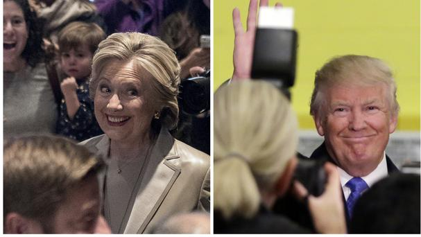 Hillary Clinton greets supporters after voting in Chappaqua, New York and Republican presidential candidate Donald Trump waves after voting in New York (AP)