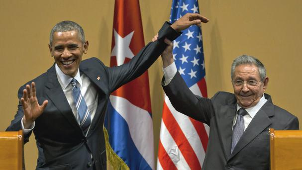 Cuban President Raul Castro, right, with Barack Obama. (AP)