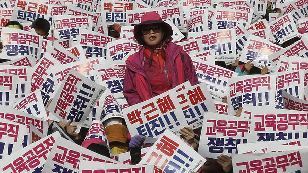 A rally calling for South Korean President Park Geun-hye to step down in Seou (AP)