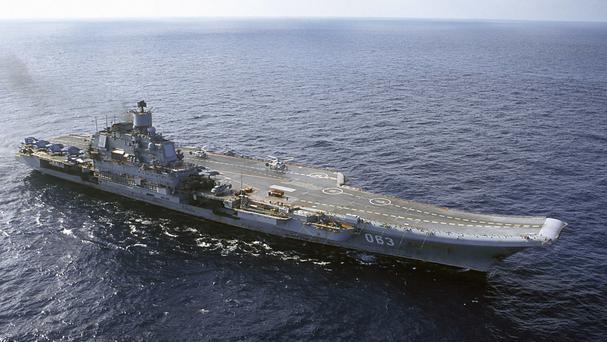 The Admiral Kuznetsov carrier is now off the shore of Syria (AP)