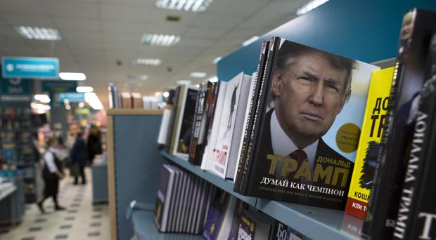 A book by US President-elect Donald Trump, Think Like a Champion, on display in the Moscow House of Books in Moscow, Russia (AP)