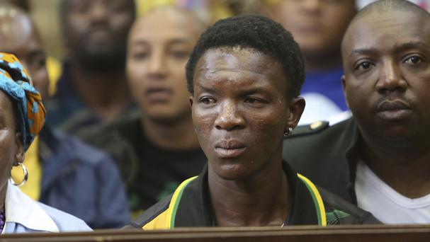 Victor Rethabile Mlotshwa, who was allegedly forced into a coffin, sits inside the Magistrates Court in Middelburg, South Africa (AP)