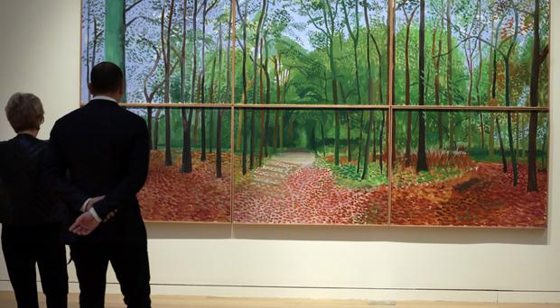 Woldgate Woods, 24, 25 and 26 October, 2006 by David Hockney has sold for 11.7 million dollars at auction (AP)