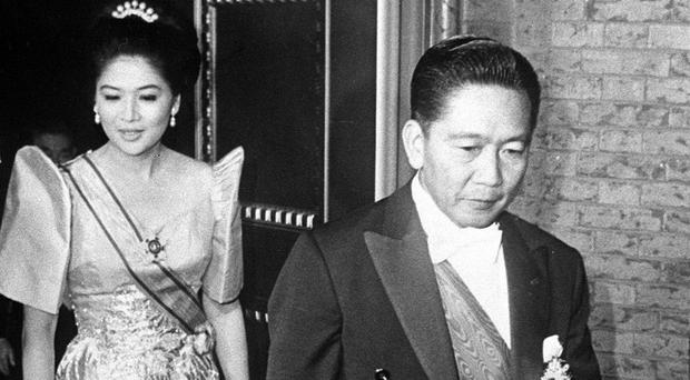 Former Philippines president Ferdinand Marcos and his wife Imelda Marcos