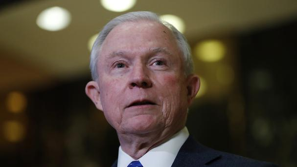 Jeff Sessions speaks to media at Trump Tower in New York (AP)
