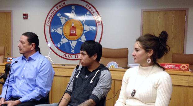 Standing Rock Sioux Chairman Dave Archambault, tribal youth Garrett Hairychin and actress Shailene Woodley look on as several celebrities met with tribal officials to discuss efforts to halt construction of the Dakota Access oil pipeline (AP)