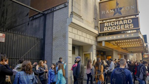 People line up to see the Broadway play Hamilton (AP)