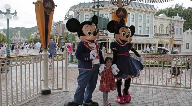 Mickey and Minnie Mouse at Hong Kong Disneyland (AP)