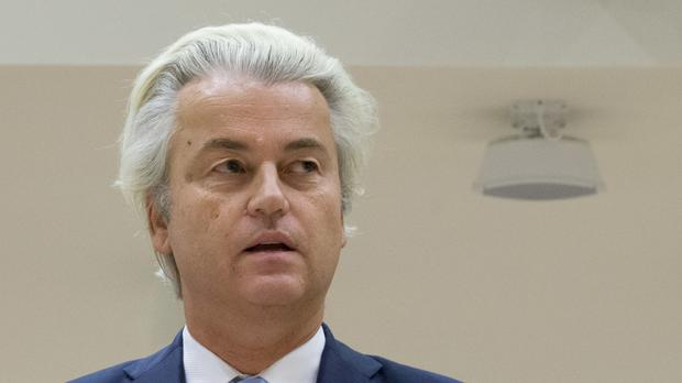 Geert Wilders prepares to address judges (AP)