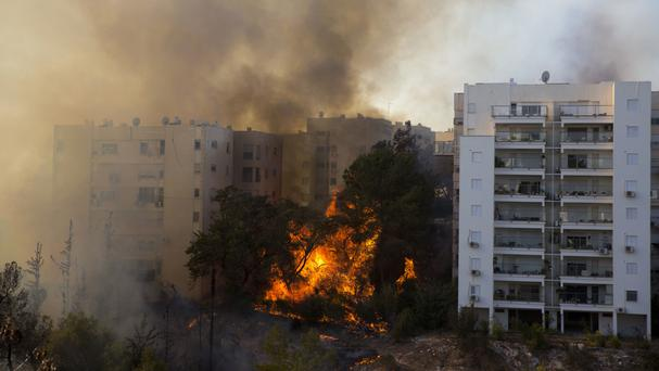 Wildfires burn in Haifa, Israel (AP)